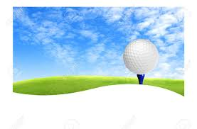 golf ball on tee off with green grass field over the blue sky
