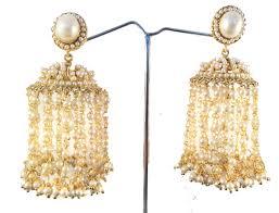 Chandelier Pearl Earrings For Wedding Gold Jhumkas Bridal Pearl Earrings Ethnic Jhaalar Pearl Jhumka