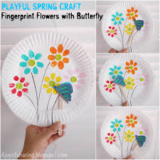 Art And Craft For Kids With Paper Plates The Joy Of Sharing Fingerprint Flowers And Flying Butterfly