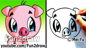 how to draw a cartoon pig under 2 min cute animal drawings