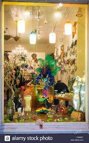 mardi gras shop ornate mardi gras masks souvenirs and gifts in shop window in