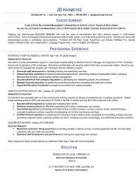 Assistant Manager Sample Resume by Sample Resumes For Administrative Assistant Berathen Com