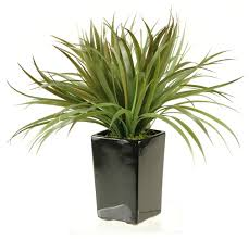 d u0026w silks brown green grass in tall square ceramic planter