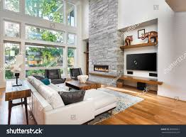 beautiful living room hardwood floors fireplace stock photo