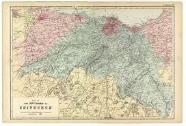 Edinburgh Map 1891 Large Antique Map Environs Of Edinburgh Scotland Very