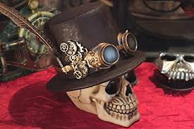 Skull Decor Steampunk Feathered Top Hat Skull With Steampunk Goggles