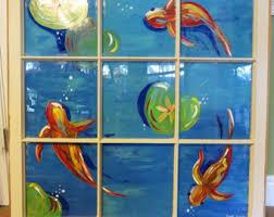 hand painted window koi fish fish painting sea life