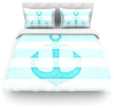 Anchor Bedding Set Amazing Monika Strigel Vintage Aqua Anchor Cotton Duvet Cover