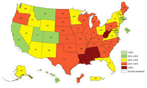 map us image map here s where obesity rates are highest in the us