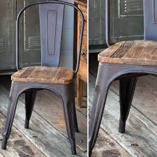 Galvanized Bistro Chair Elm Seat Metal Bistro Chair Antique Farmhouse