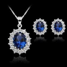 blue sapphire necklace sets images 2018 fashion silver filled blue sapphire crystal christmas jewelry jpg