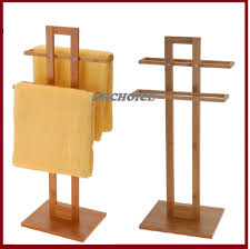 Free Standing Towel Stands For Bathrooms Bathroom Bamboo Wooden Wood 2 Tier Towel Rack Rail Holder Stand
