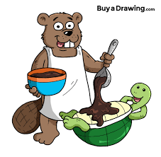 cartoon beaver and turtle drawing for business mascots