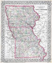 Iowa State Map Large Detailed Old Administrative Map Of Iowa And Missouri States