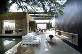 glorious blend interior and semi exterior living spaces design