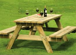 Wooden Picnic Tables With Separate Benches Childs Wooden Picnic Table With Umbrella Tables Separate Benches