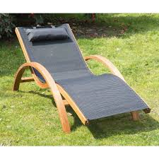 Outdoor Wooden Chairs Outsunny Outdoor Recliner Patio Mesh Lounger Wooden Chair With
