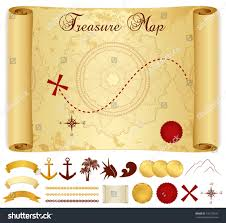 Blank Pirate Map Template by Treasure Map On Old Vintage Antique Stock Vector 140779291