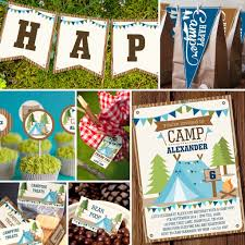 boys camping party full party set backyard campout party