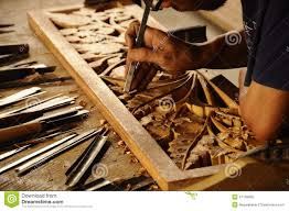 traditional craftsman carving wood editorial stock image image