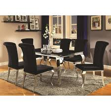 coaster carone contemporary glam dining room set with upholstered