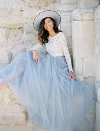 White Tulle Maxi Skirt The Soft Wendy Chilled Blue 45