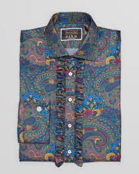 thomas pink fab four collection silk paisley ruffle dress shirt