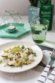 cuisine riz recette de riz vert avocat courgette citron vert et noix