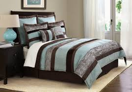 Blue Striped Comforter Set Bedroom Aqua Blue And Brown Striped Bedding Set Added Blue Table
