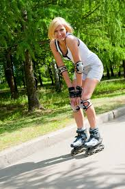roller skating in the park stock photo image of active