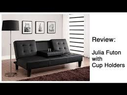 review julia futon with cup holders youtube