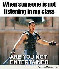 English Student Meme - a teacher s face when someone is not listening to his class so