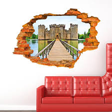 dimensional wall wall paintings 3d three dimensional wall stickers castle wall