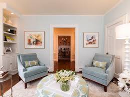 blue living room chairs traditional style living room with modern twist liz dickson hgtv