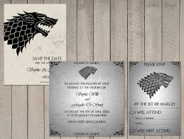 wedding invitation rsvp date wedding invitation set game of thrones house stark save the