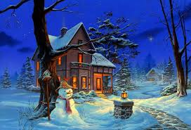 houses winter night cn xmas new year paintings snowman christmas