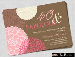 40 and fabulous 40th birthday invitation pink brown