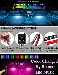 Led Strip Lights For Car Interior by Amazon Com Ficbox 8 Color 72 Led Car Interior Light Atmosphere