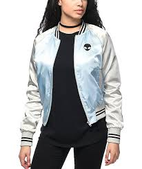 light bomber jacket womens trillium alien light blue silver satin bomber jacket 276727