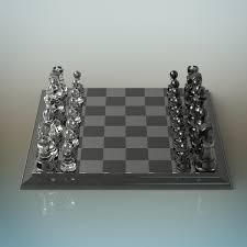 Metal Chess Set by Glass Chess Set By Deepocean3d 3docean