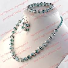 beads necklace sets images One set handmade peacock green crystal glass beads jewelry set jpg