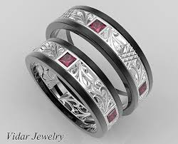 unique matching wedding bands matching wedding band sethis and hers ruby wedding band