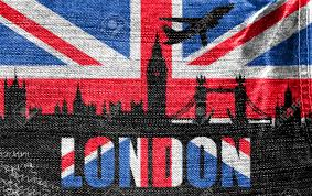 London Flag View Of London On The British Flag On The Jeans Texture Stock