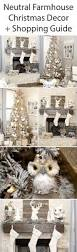 farmhouse christmas decor with a neutral christmas tree and mantel