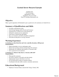 bartender resume templates resume exles server applicant doc mittnastaliv with regard to