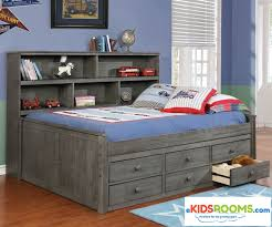 Bookcase Daybed With Drawers And Trundle Full Size Bookcase Captains Daybed Driftwood Gray Allen House
