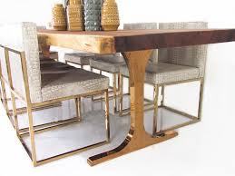 eco slab dining table with custom copper legs tables pinterest