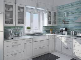 Kitchen Glass Backsplash Decorating Green And Blue Hand Painted Linear For Glass
