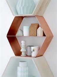wandregal hexagon regal sechseck kupfer von bloomingville