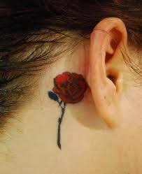 rose tattoo behind ear my style pinterest